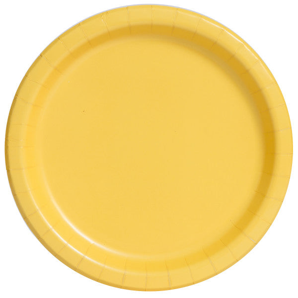 "Sunflower Yellow Solid Round 7"" Dessert Plates, 8ct"