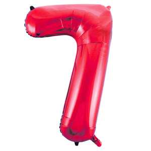 "Red Number 7 Shaped Foil Balloon 34"", Packaged"