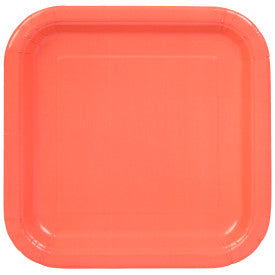 "Coral Solid Square 9"" Dinner Plates, 14ct"