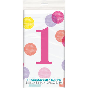 "Pink Dots 1st Birthday Rectangular Plastic Table Cover, 54""x84"""