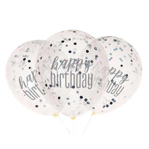 "6 12"" Clear Printed Glitz ""Happy Birthday"" Balloons with Confetti, Black & Silver"