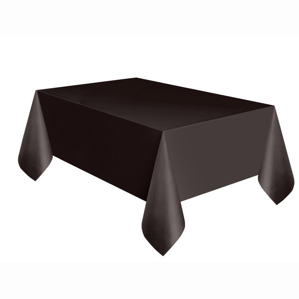 "Black Solid Rectangular Plastic Table Cover, 54""x108"""