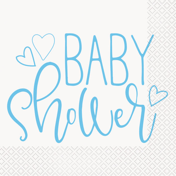 Blue Hearts Baby Shower Luncheon Napkins, 16ct