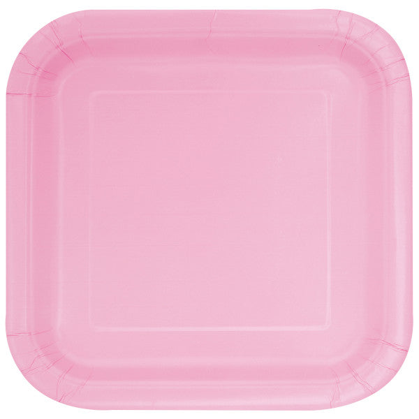 "Lovely Pink Solid Square 9"" Dinner Plates, 14ct"