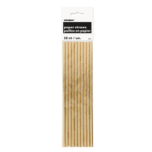 Gold Foil Paper Straws, 10ct