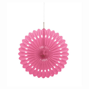 "Hot Pink Solid 16"" Tissue Paper Fan"
