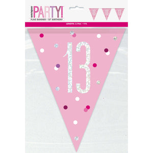 "Age ""13"" Birthday Pink & Silver Glitz Flag Banner (9ft)"