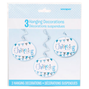 "Blue Bunting Christening Hanging Swirl Decorations, 26"", 3ct"