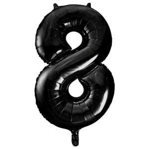 "Black Number 8 Shaped Foil Balloon 34"", Packaged"