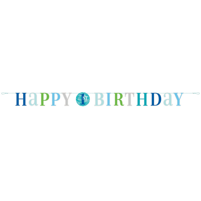 Blue Dots 1st Birthday Letter Banner, 6 ft