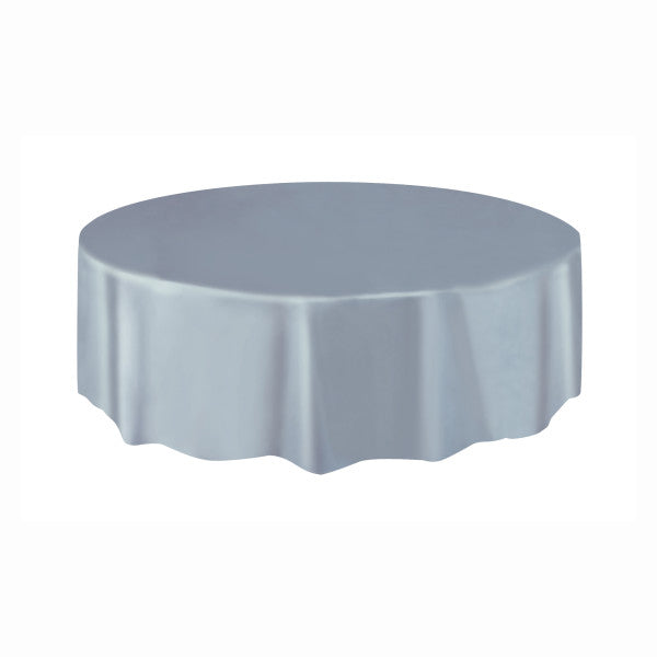 Silver Solid Round Plastic Table Cover, 84""