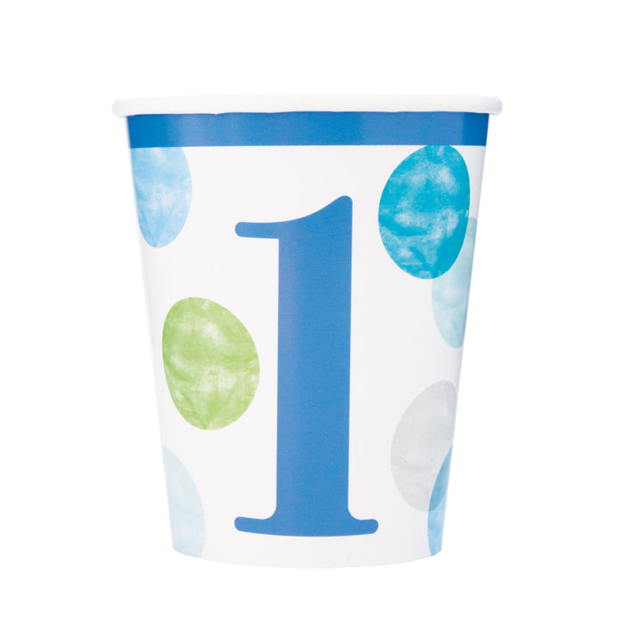 Blue Dots 1st Birthday 9oz Paper Cups, 8ct