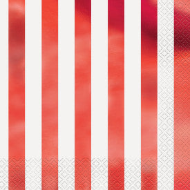 Red Foil Stripes Luncheon Napkins, 16ct - Foil Stamped