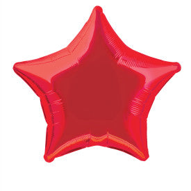 "Red Solid Star Foil Balloon 20"", Bulk"
