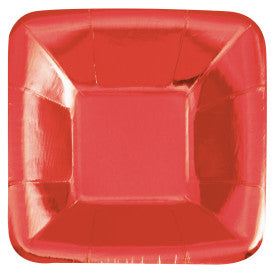 "Red Foil Square 5"" Appetizer Plates, 8ct - Foil Board"