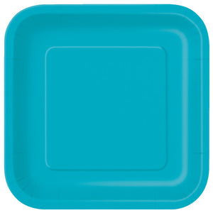 "Caribbean Teal Solid Square 9"" Dinner Plates, 14ct"