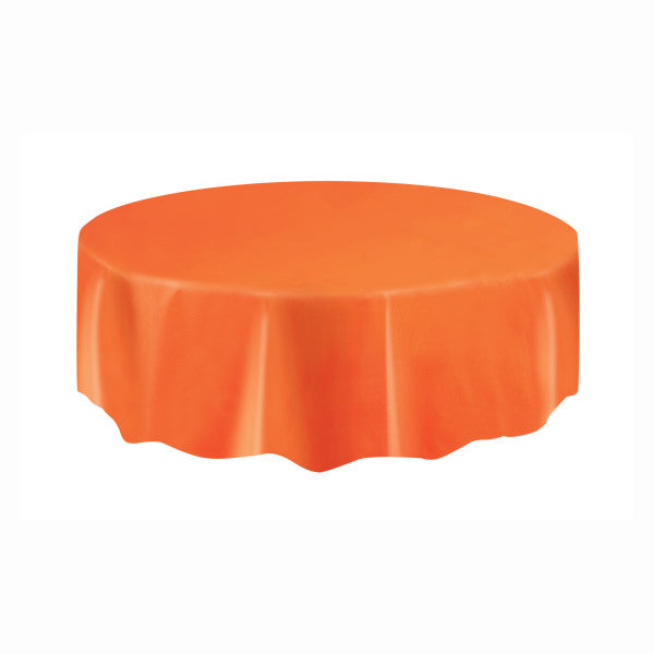 Orange Solid Round Plastic Table Cover, 84""