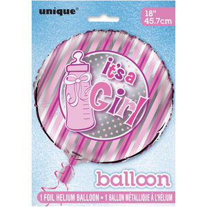 "It's A Girl Bottle Round Foil Balloon 18"", Packaged"