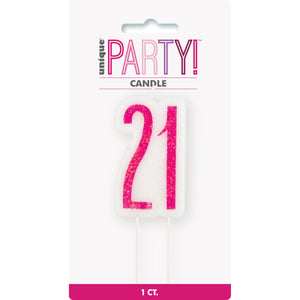 Birthday Pink Glitz Number 21 Numeral Candle