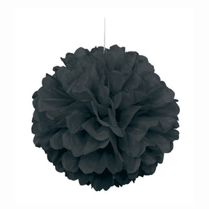 "Black Solid 16"" Hanging Tissue Pom Pom"