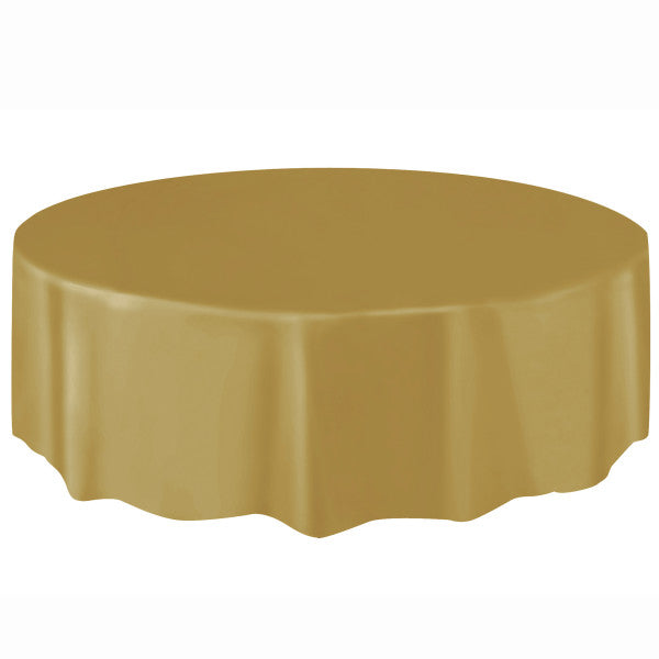 Gold Solid Round Plastic Table Cover, 84""