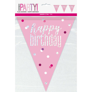 """Happy Birthday"" Glitz Pink & Silver Prismatic Plastic Flag Banner (9ft)"