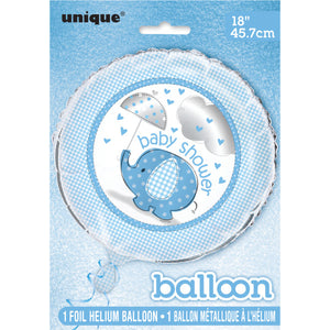 "Umbrellaphants Blue Round Foil Balloon 18"", Packaged"