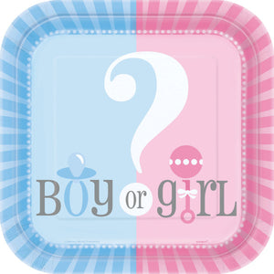 "Gender Reveal Square 7"" Dessert Plates, 10ct"