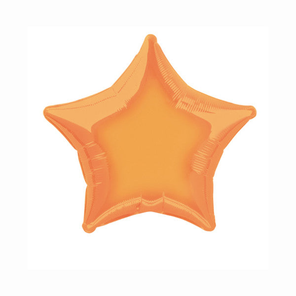 Orange Solid Star Foil Balloon 20""