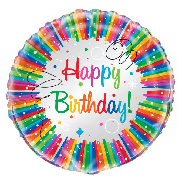 "Rainbow Ribbons Birthday Round Foil Balloon 18"", Packaged"