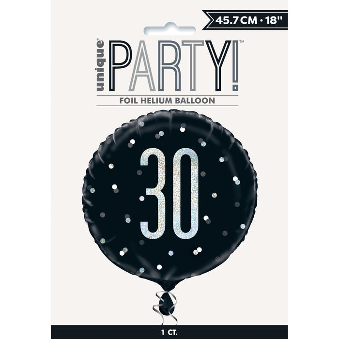 "18"" Glitz Black & Silver Round Foil Balloon Packaged 30"