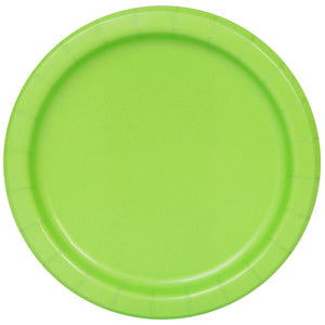 "Lime Green Solid Round 7"" Dessert Plates, 20ct"