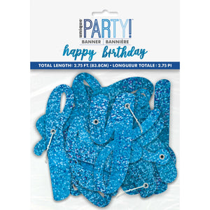 "Blue Glitz Script ""Happy Birthday"" Prismatic Foil Jointed Banner, 2pc"