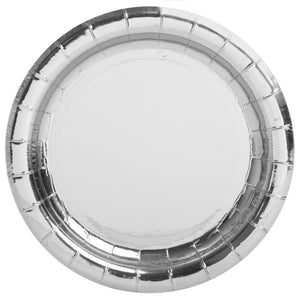"Silver Foil Round 9"" Dinner Plates, 8ct - Foil Board"
