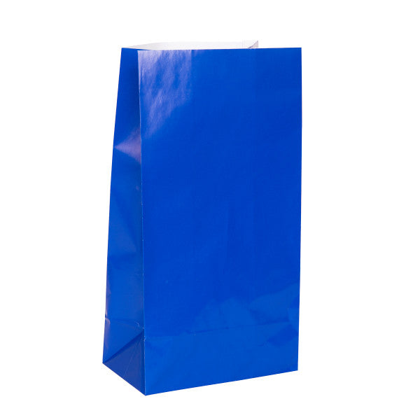 Royal Blue Paper Party Bags, 12ct