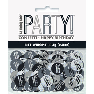 Birthday Black Glitz Number 16 Confetti, .5oz