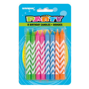 Chevron Birthday Candles - Assorted Colors, 8ct