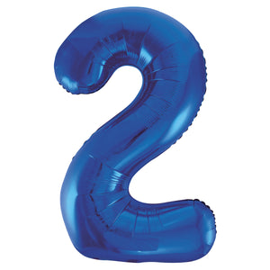 "Blue Number 2 Shaped Foil Balloon 34"", Packaged"