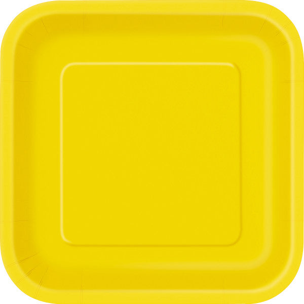 "Sunflower Yellow Solid Square 9"" Dinner Plates, 14ct"