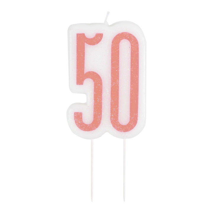 Glitz Rose Gold Numeral Birthday Candle 50