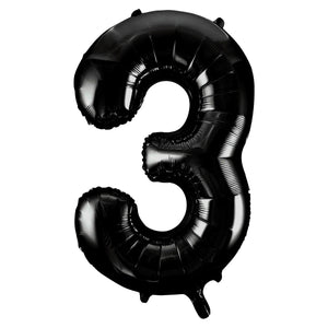 "Black Number 3 Shaped Foil Balloon 34"", Packaged"
