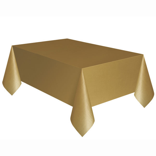 "Gold Solid Rectangular Plastic Table Cover, 54""x108"""