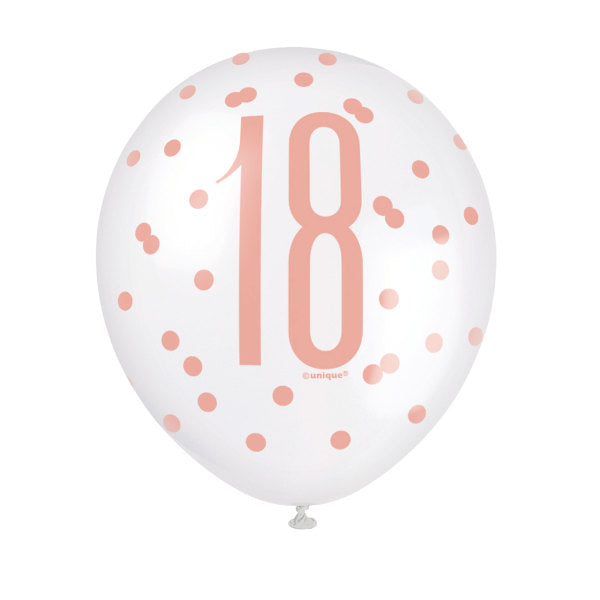 "Birthday Rose Gold Glitz Number 18 12"" Latex Balloons, 6ct"