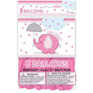 "Umbrellaphants Pink 12"" Latex Balloons, 8ct"