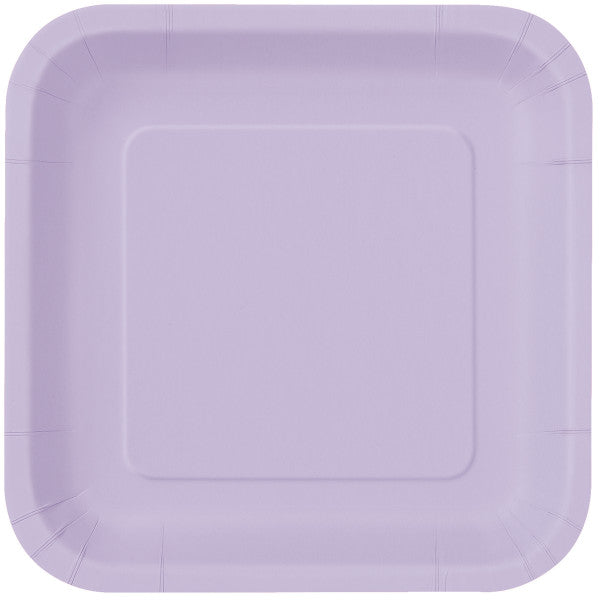"Lavender Solid Square 9"" Dinner Plates, 14ct"