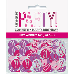 Birthday Pink Glitz Number 21 Confetti, .5oz