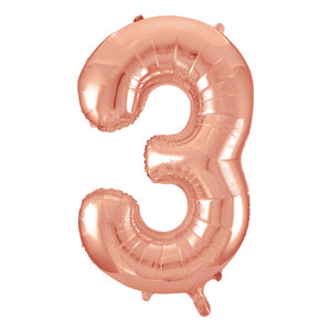 "Rose Gold Number 3 Shaped Foil Balloon 34"", Packaged"
