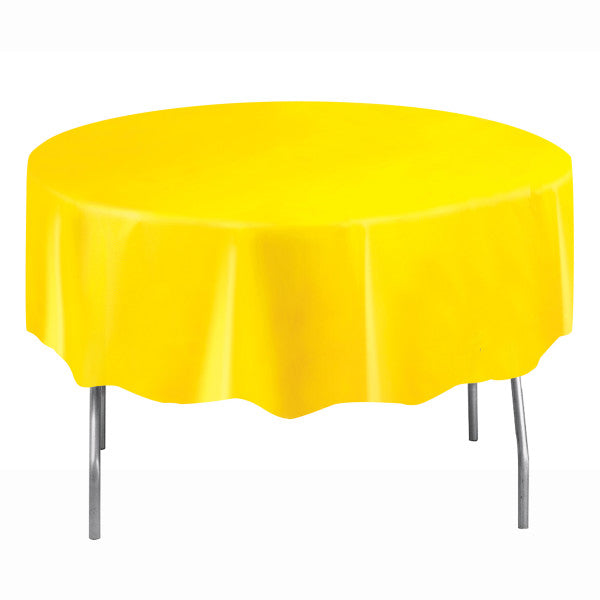 "Sunflower Yellow Solid Round Plastic Table Cover, 84"", Short Package"