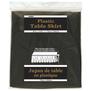 "Black Solid Plastic Table Skirt, 29""x14ft"