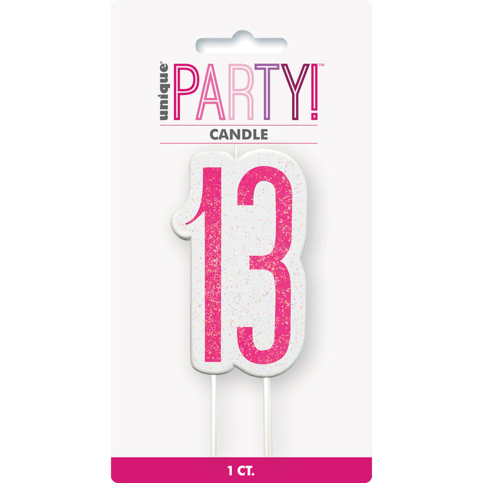 Birthday Pink Glitz Number 13 Numeral Candle